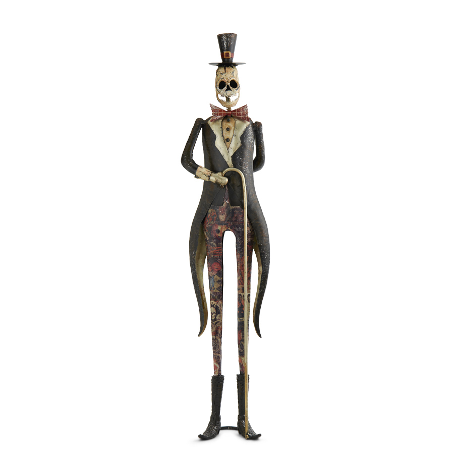 tin standing skeleton with cane halloween home decoration
