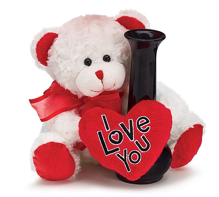 Plush I Love You White Bear Vase Hugger